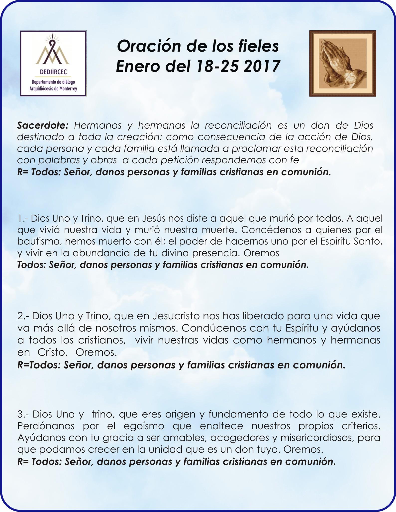 Oracion De Los Fieles Para La Souc 2017 Departamento De Diálogo Dediircec